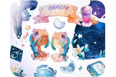 20 Cancer Zodiac clipart set Zodiac stickers