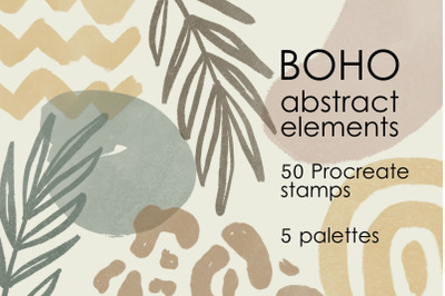 Boho abstract Procreate brushes and palettes