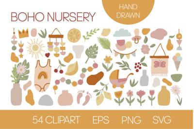 Cute boho clipart for kids nursery
