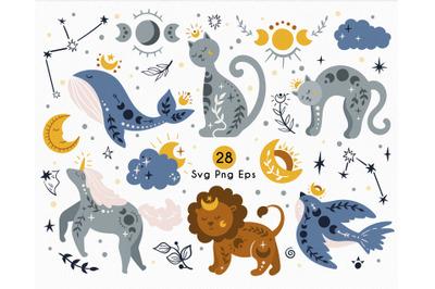 Celestial Animals - SVG clipart set