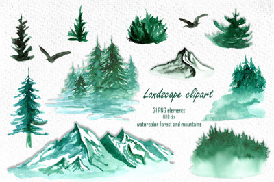 Watercolor landscape clipart PNG, foggy forest, mountains