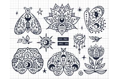 Boho wlack&white Butterfly SVG
