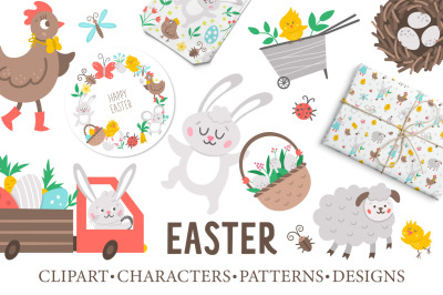 Easter clipart, characters, patterns