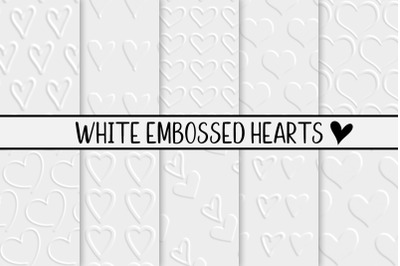 White Embossed Hearts