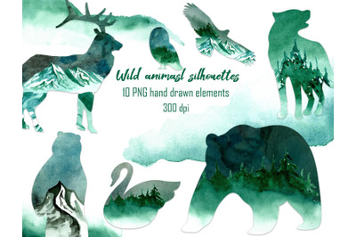 Animal landscape clipart Silhouette PNG Mountain watercolor