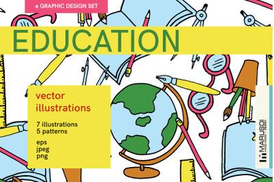 EDUCATION vector illustrations