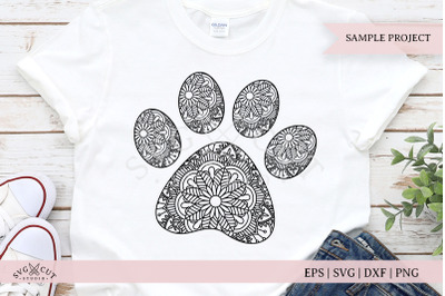 Mandala Paw Print SVG Cut Files