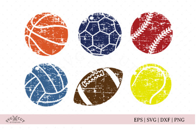 Distressed Grunge Sport Balls SVG Files