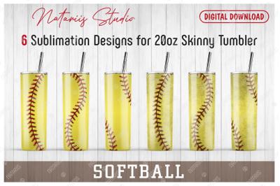 6 Realistic Softball Patterns for 20oz SKINNY TUMBLER.