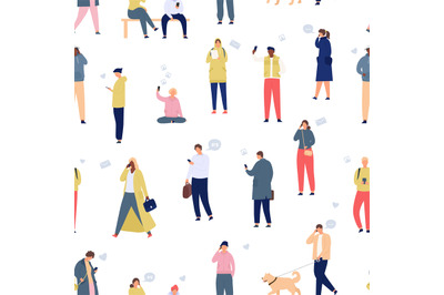 Crowd with phones seamless pattern. Walking people using smartphones a