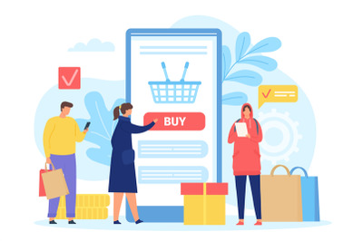 People buying in online shop. Smartphone screen with shopping basket.