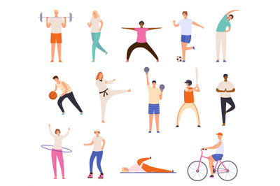 Sport people. Men and women exercise, workout, doing yoga and fitness,