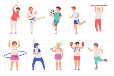 Sport kids. Children play football and tennis, doing exercise and kara