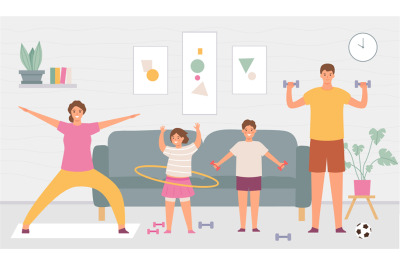 Sport family at home. Parents and kids do exercise in house interior.