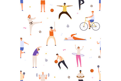 People exercise seamless pattern. Active man and woman do yoga, sport,