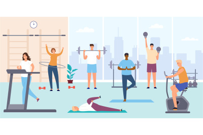 People in gym. Man and woman on training apparatus, exercise bike and