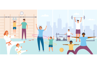 Parents and kids in gym. Families do exercise. Sport lesson or physica