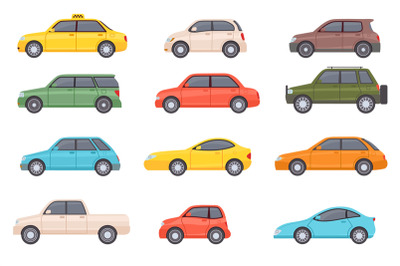 Flat cars. Cartoon vehicle side view. Taxi, minivan, mini car, suv and
