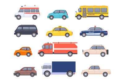 City transport cars. Urban car and vehicles, taxi, school bus, ambulan