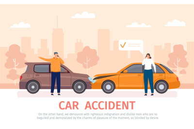 Car crash. Auto accident with drivers with phones standing near vehicl