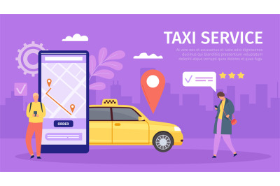 Taxi online service. Young man and woman order cab by smartphone. Big