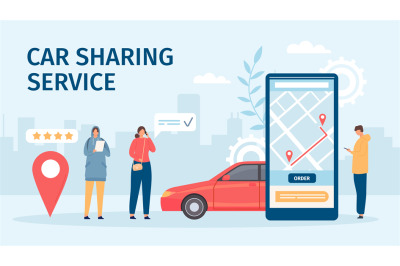 Car sharing service. Big smartphone screen with mobile app and people
