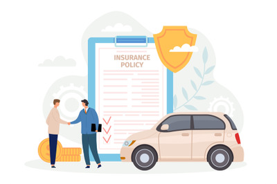 Car insurance policy. Man handshake with agent. Contract for safe and