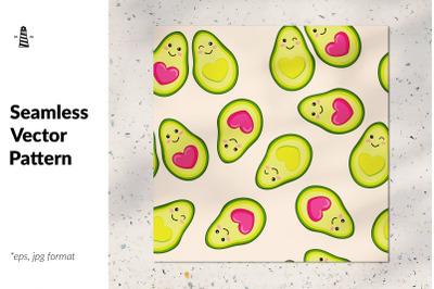 Avocado love seamless pattern