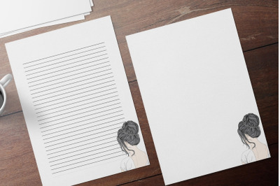Printable Letter Writing Stationery, Stylish Girl Stationery