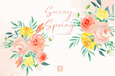 Sunny Spring. Watercolor Clipart.