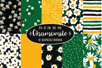 Chamomile. 10 seamless patterns