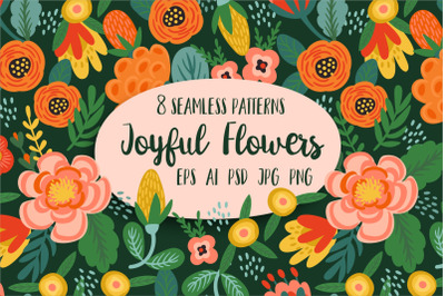 Joyful Flowers. 8 seamless patterns