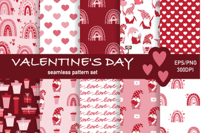 Valentine's Day Seamless Pattern Set