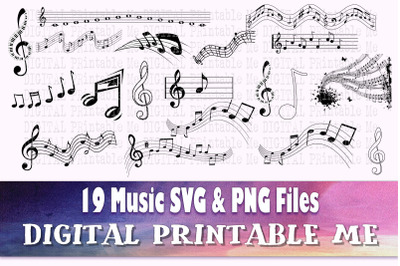 Music Note Silhouette, Music, SVG, PNG,  Clip Art Pack , 19 Images, Pa