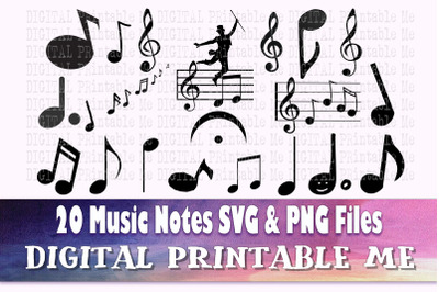 Music Note Silhouette, Music, SVG, PNG,  Clip Art Pack , 20 Images, Pa