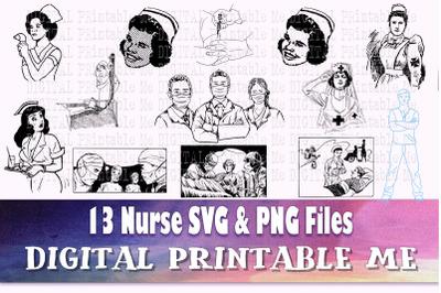Nurse SVG Bundle PNG files medical doctor health illustration graphic