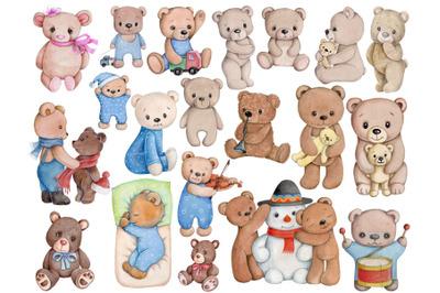 Big set of 20 Teddy Bears. Watercolor illustrations.