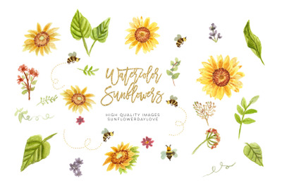 Bee and Sunflower Clipart, Floral Sunflower Wedding Clipart