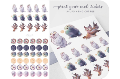 Magic Owl - clipart printable stickers