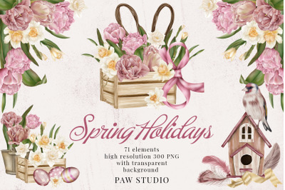 Spring Holidays Women's Day 8 March Easter Clipart Tulips Daffodils
