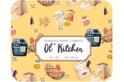 Old Kitchen - Cooking kids digital paper Vintage pattern