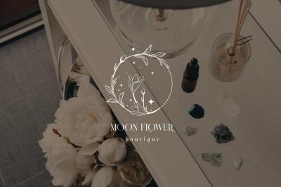 Moon Flower Pre-Made Logo Designs. Bohemian, Mystic, Line Art. Spirit.