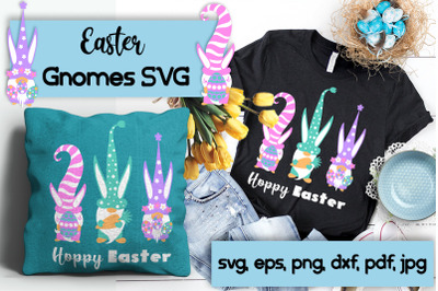 Three Easter bunny gnomes. SVG cutting files.