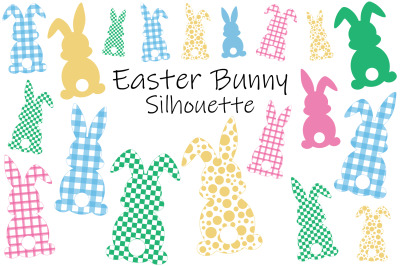 Easter Bunny Silhouettes. Plaid Bunnies. Easter Bunny SVG