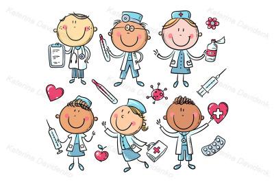 Funny cartoon doctors set