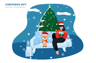 Christmas Gift Flat Vector Illustration