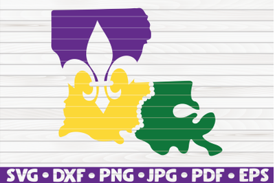 Louisiana state silhouette SVG | Mardi Gras cut file