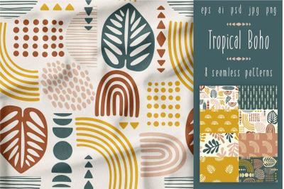 Tropical Boho. 8 seamless patterns