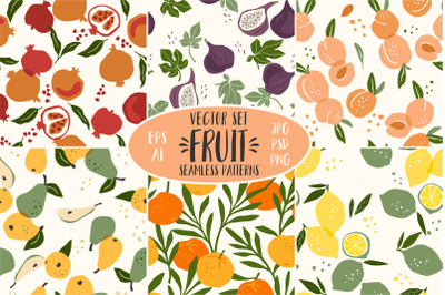 Fruit. 6 seamless patterns