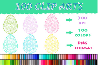 Easter Eggs Mandala clipart , 100 colors clipart